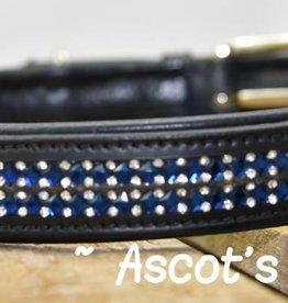 Ascot's Finest Zwart rundleer met blauwe strass - 55 cm, 60 cm en 65 cm