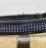 Ascot's Finest Zwart rundlederen halsband met blauwe strass steentjes - 55, 60 of 65 cm