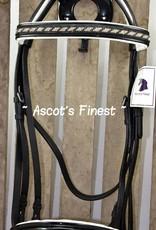 Ascot's Finest Stang en trens hoofdstel - zwart/witte strass / Maat Full en Cob