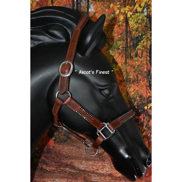Bruin rundlederen halster met twee rijen strass - Maten Pony, Cob en Full