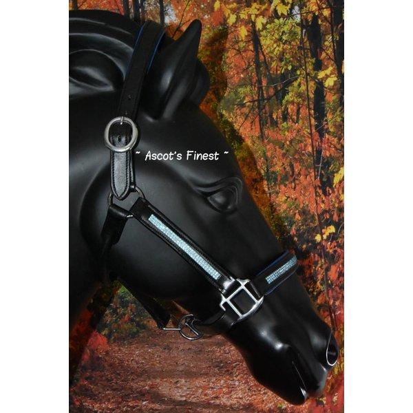 Zwart lederen halster met blauwe padding en strass - Pony, Cob en Full
