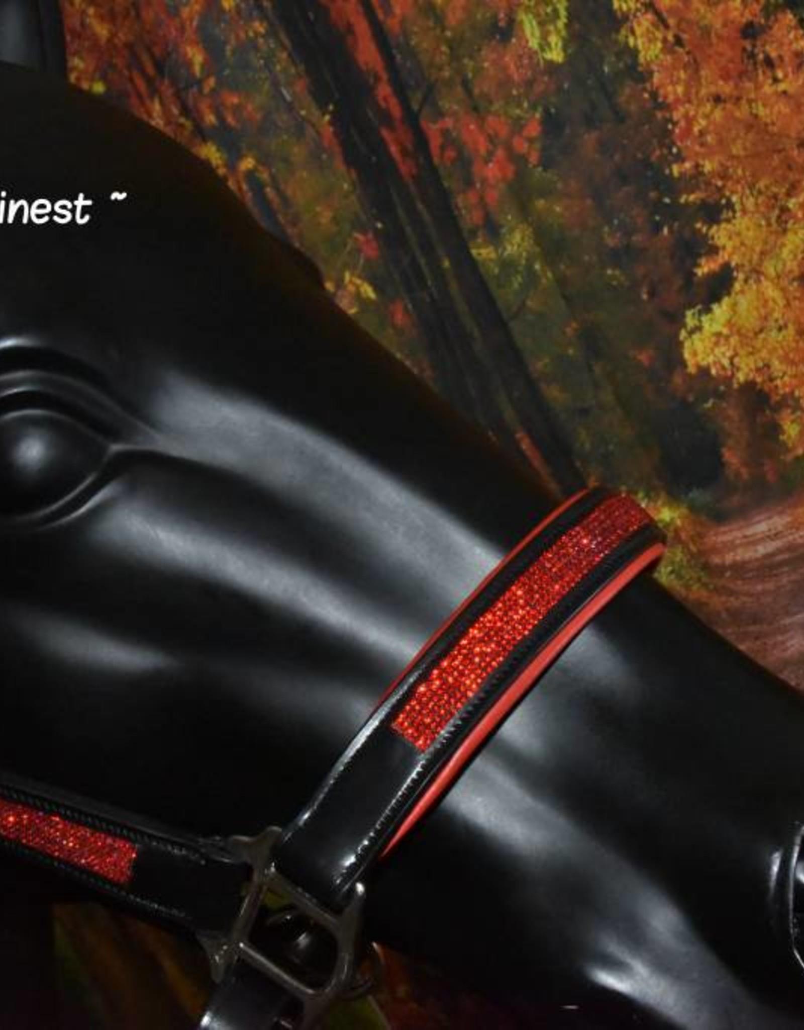 Ascot's Finest Lederen halster met rood - Pony t/m XFull