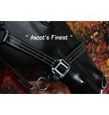 Ascot's Finest Zwart lederen 3-stiksel halster – Maat Xfull, Full en Cob