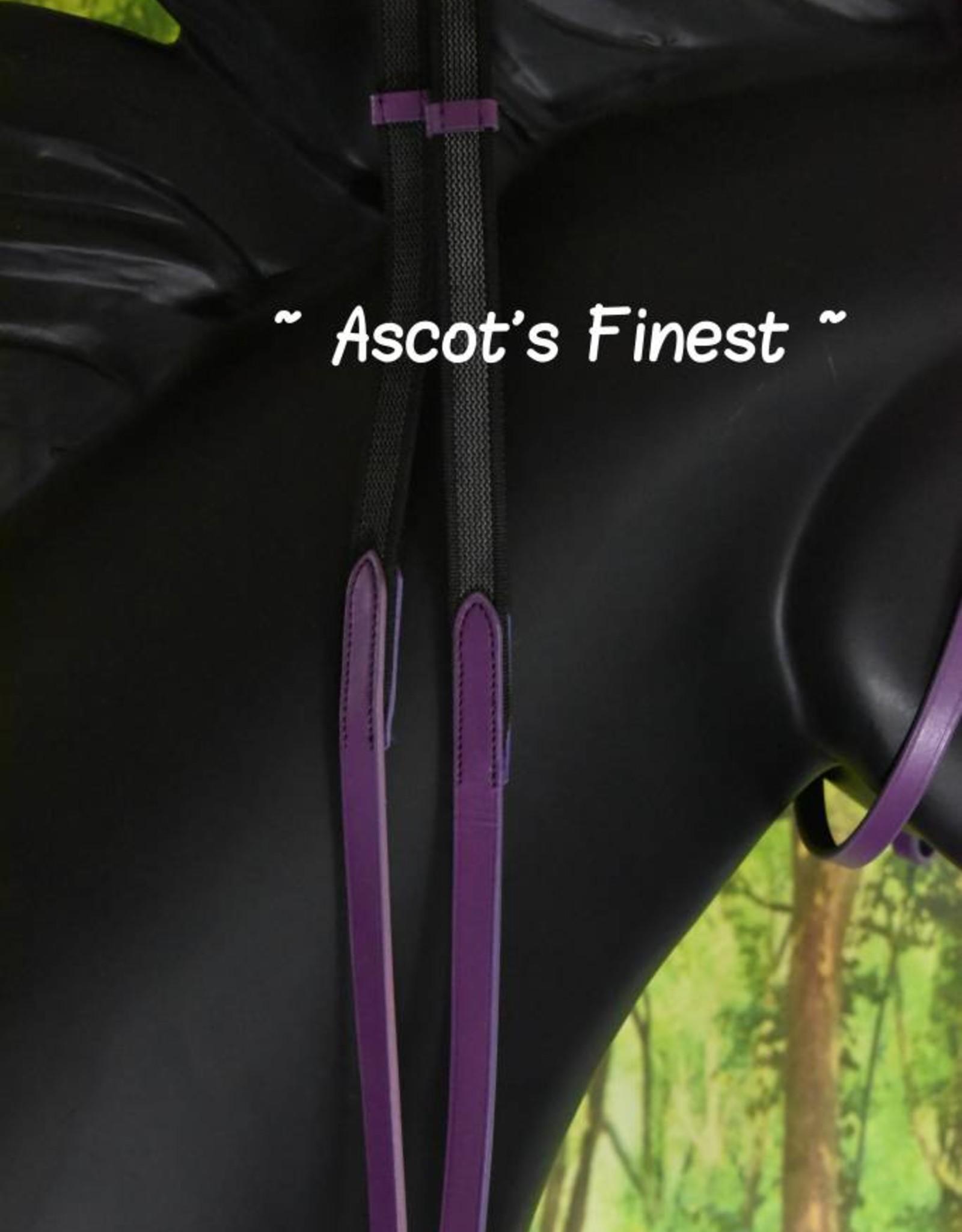 Ascot's Finest Paars rundlederen hoofdstel - Pony, Cob en Full