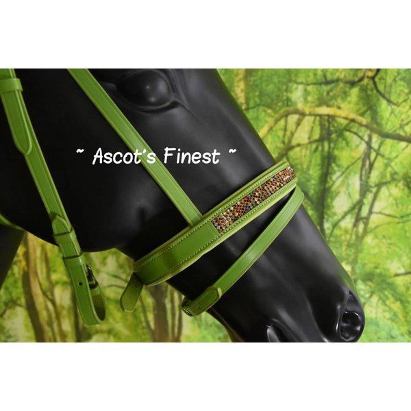 Groen rundlederen hoofdstel - Pony, Cob en Full
