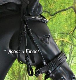 Ascot's Finest Zwart rundlederen hoofdstel grote strass Shet t/m XFull