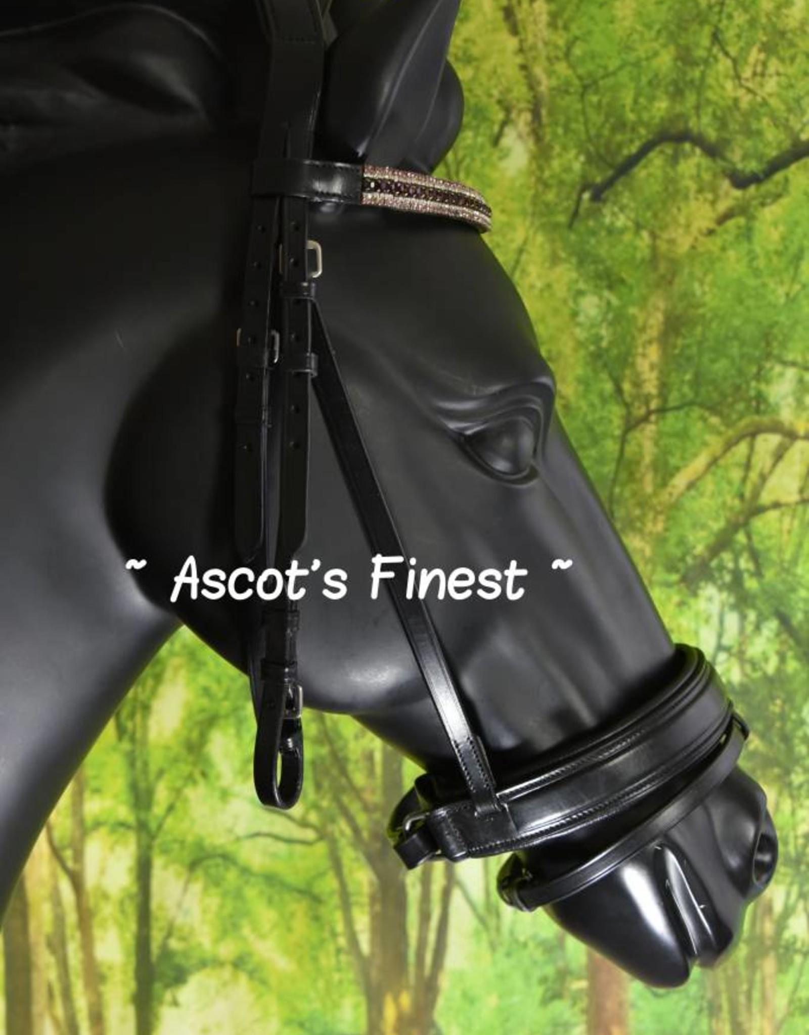 Ascot's Finest Zwart rundleer hoofdstel met brede neusriem en strass - Full, Cob, Pony, Shet