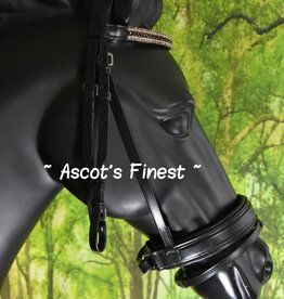 Ascot's Finest Zwart rundleer hoofdstel met brede neusriem en strass - Shet, Pony, Cob and Full.
