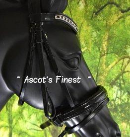 Ascot's Finest Zwart rundleder hoofdstel met kroko-lak - Pony, Cob en Full