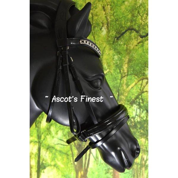 Zwart rundleder hoofdstel met kroko-lak - Pony, Cob en Full