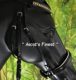 Ascot's Finest Zwart rundleder Lage Neusriem - Shet, Pony, Cob, Ful  en XFull