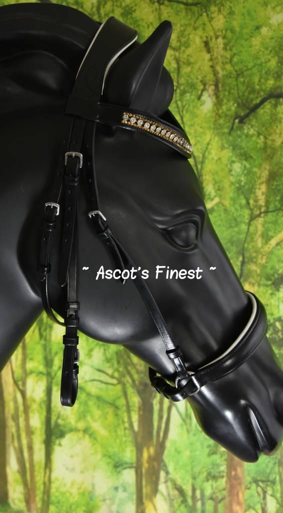 Ascot's Finest Zwart rundleder Lage Neusriem - Shet, Pony, Cob en Full