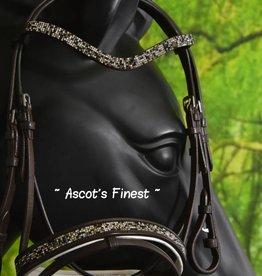 Ascot's Finest Shetlander rundlederen hoofdstel - bruin met strass