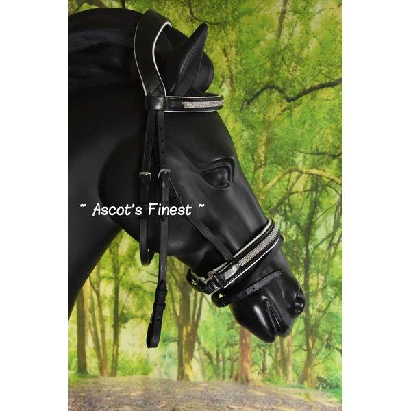 Zwart rundlederen hoofdstel, wit onderlegd, met fijne strass - Full, Cob en Pony