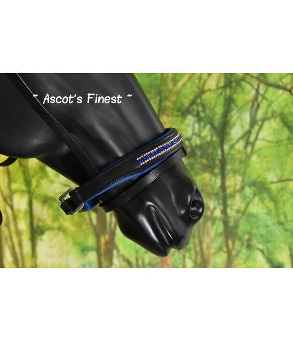 Ascot's Finest Zwart rundlederen hoofdstel met Royal Blue strass  - Pony en Full