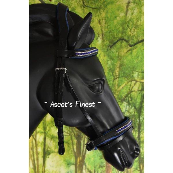 Zwart rundlederen hoofdstel met Royal Blue strass  - Pony en Full