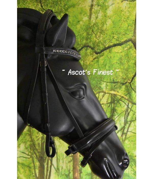 Ascot's Finest Zwart lederen Trekpaard hoofdstel