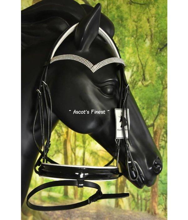 Ascot's Finest Zwart lederen hoofdstel met V-vormige strass frontriem en witte padding - Full en Cob
