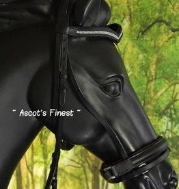 Ascot's Finest Zwart rundlederen hoofdstel V-frontriem - Pony, Cob, Full