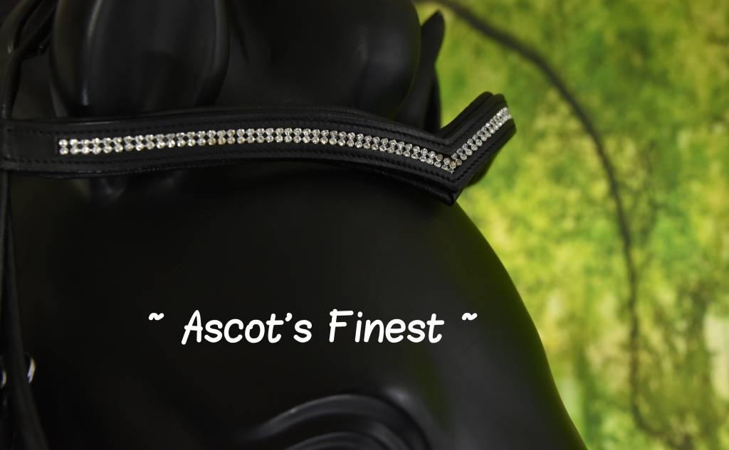 Ascot's Finest Rundlederen hoofdstel V-frontriem