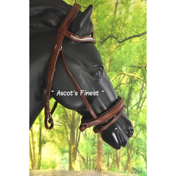 Bruin rundlederen hoofdstel met V-frontriem - Full en Pony