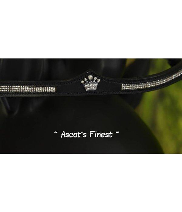 Ascot's Finest Zwart rundlederen hoofdstel met kroontjes - Pony, Cob en Full