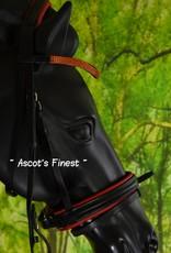 Ascot's Finest Zwart lederen hoofdstel met rode padding en strass Maat Pony, Cob en Full