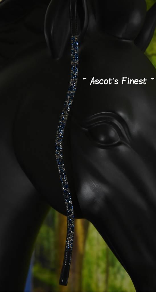Ascot's Finest Zwart rundleer - blauw/zilveren Swarovski - 41,5 cm