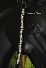 Ascot's Finest Zwart leder met parels en witte strass - 39 cm