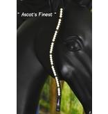 Ascot's Finest Zwart leder met witte parels en zwarte strass - 42 cm