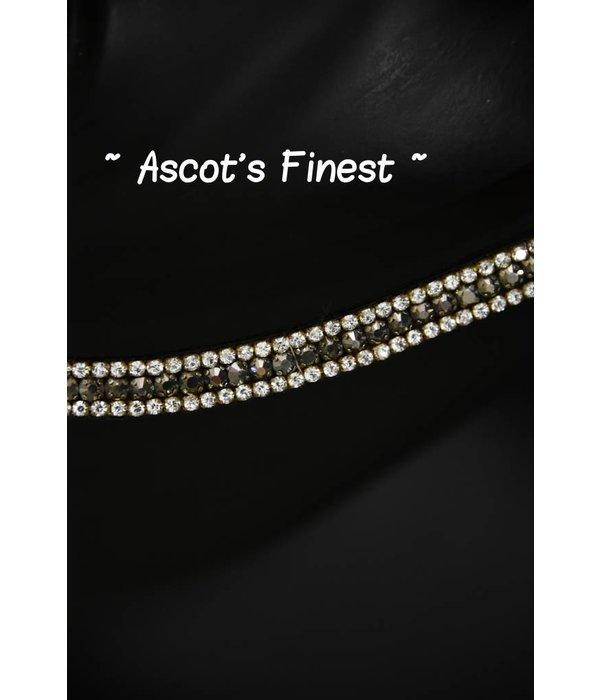 Ascot's Finest Zwart lederen met zilveren strass steentjes - 42 cm