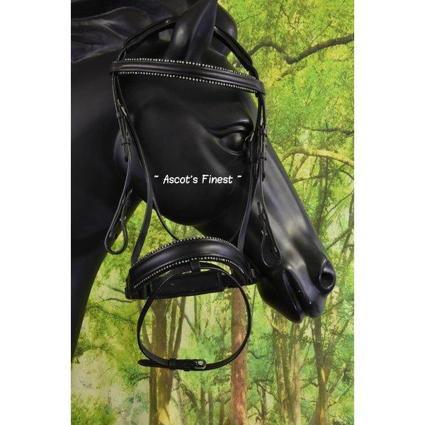 Zwart rundlederen hoofdstel met dubbele rij strass - Pony