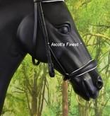 Ascot's Finest Zwart lederen lage neusriem hoofdstel met bit-frontriem en lage neusriem – Maat Full en Cob