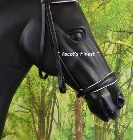 Ascot's Finest Zwart lederen lage neusriem hoofdstel met bit-frontriem Full en Cob