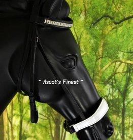Ascot's Finest Zwart rundlederen hoofdstel met witte lak en lage neusriem - Pony, Cob en Full