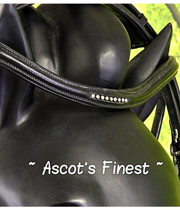 Ascot's Finest Zwart lederen hoofdstel met Swarovski - maat Full #032