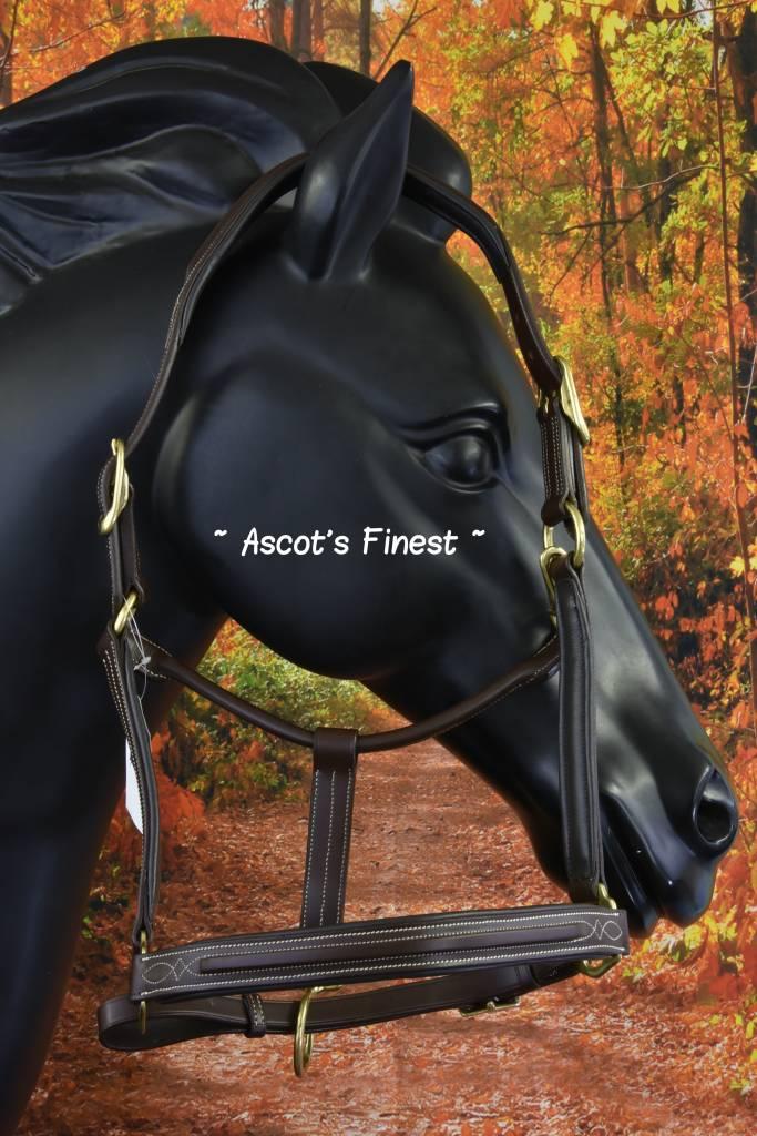 Ascot's Finest Bruin rundleder halster met stiksel - Full