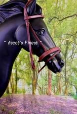 Ascot's Finest Bruin rundlederen hoofdstel met kroontjes - Pony