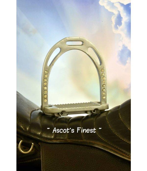 Ascot's Finest Zilverkleurige brede strass stijgbeugels