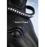 Ascot's Finest Zwart rundlederen frontriem met witte strass stenen - 43 cm - Full