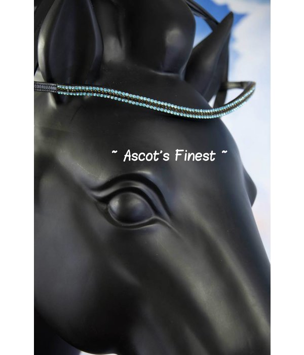 Ascot's Finest Zwart rundleer met turquoise en zwarte strass - 43,5 cm - Full