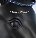 Ascot's Finest Zwart rundleer met royal blue strass - 42,5 cm - Full