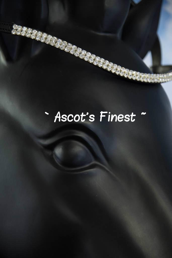 Ascot's Finest Zwart rundleer met grote zilverkleurige strass - 43 cm - Full