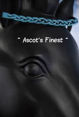 Ascot's Finest Zwart rundleer met turquoise strass vlecht - 39 cm - Cob