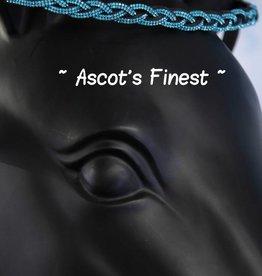 Ascot's Finest Zwart rundleer met turquoise strass vlecht - 39 cm