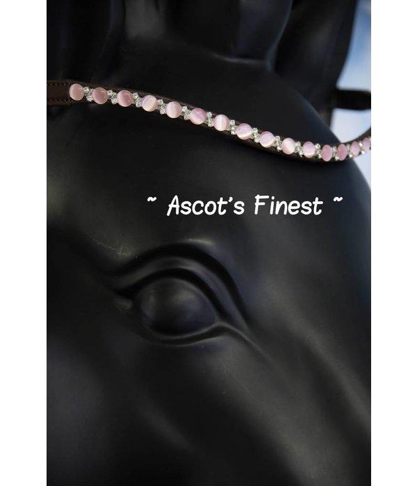 Ascot's Finest Bruin rundleer met roze steentjes - 41,5 cm - Full