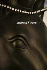 Ascot's Finest Zwart rundleer met witte stenen - 42 cm - Full