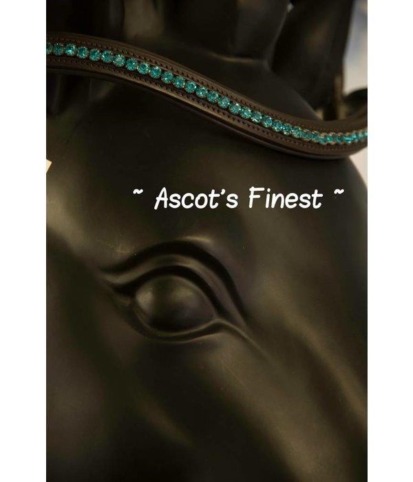Ascot's Finest Bruin rundleer met turquoise - 40,5 cm - Cob/Full
