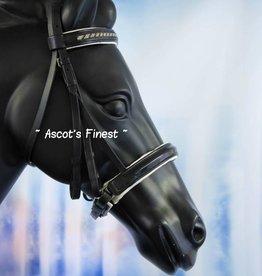 Ascot's Finest Stang en trens hoofdstel - zwart/witte strass