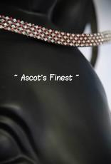 Ascot's Finest Zwart rundleer met roze en witte strass - 40 cm - Full